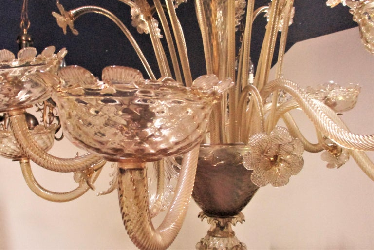 19th Century 1880s Venetian Murano Champagne or Gold Chandelier For Sale