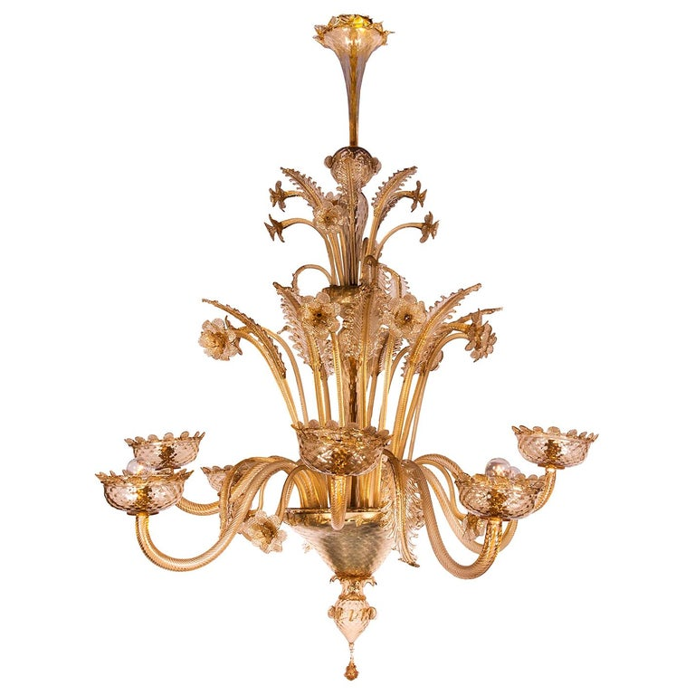 1880s Venetian Murano Champagne or Gold Chandelier For Sale