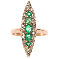 1880s Victorian 14 Karat Rose Gold Emerald and Diamond Cocktail Ring