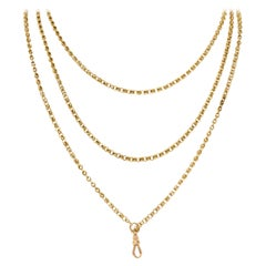 1880's Victorian 14 Karat Yellow Gold Long Chain Necklace