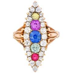 1880s Victorian 1.86 Carat Sapphire Diamond 14 Karat Gold Navette Cluster Ring