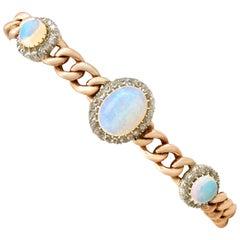 1880s Victorian 3.83 Carat Opal and 1.12 Carat Diamond Yellow Gold Bracelet