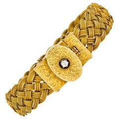 1880's Victorian Diamond 14 Karat Yellow Gold Woven Locket Bracelet