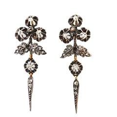 Antique Victorian Old mine & rose cut diamond drop earrings