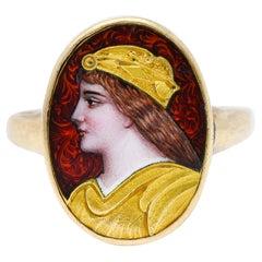 1880's Victorian Guilloche Enamel 14 Karat Gold Portrait Ring