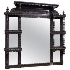 1880s Victorian Hand Carved Dark Tone Wood over Mantel with Shelves
