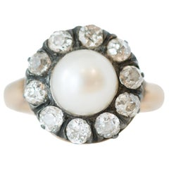 1880s Victorian Pearl and 1.0 Carat Total Old Mine Diamond Ring