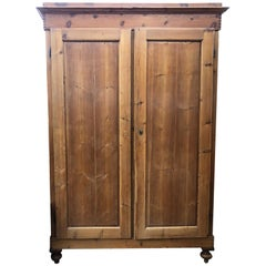 1880s Wardrobe Tuscan Fir with Two Doors Natural Color One Drawer