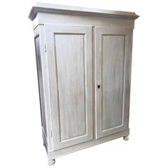 1880s Wardrobe Tuscan Fir with Two Doors Shabby White Color Two Drawers