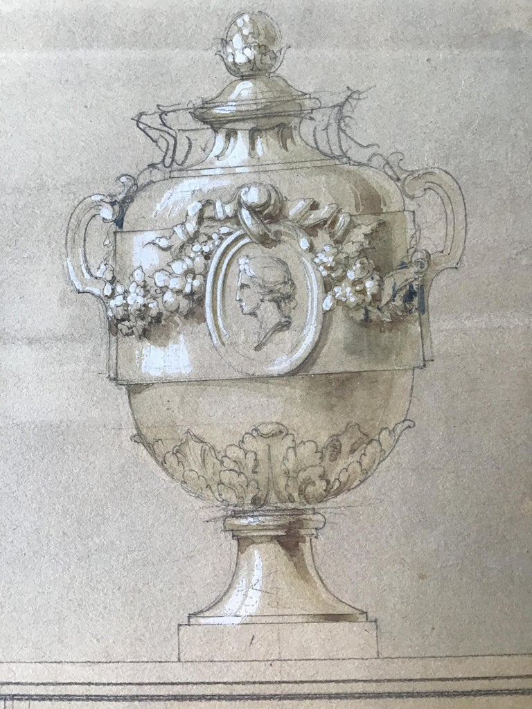 1880s Watercolor of an Urn For Sale 5