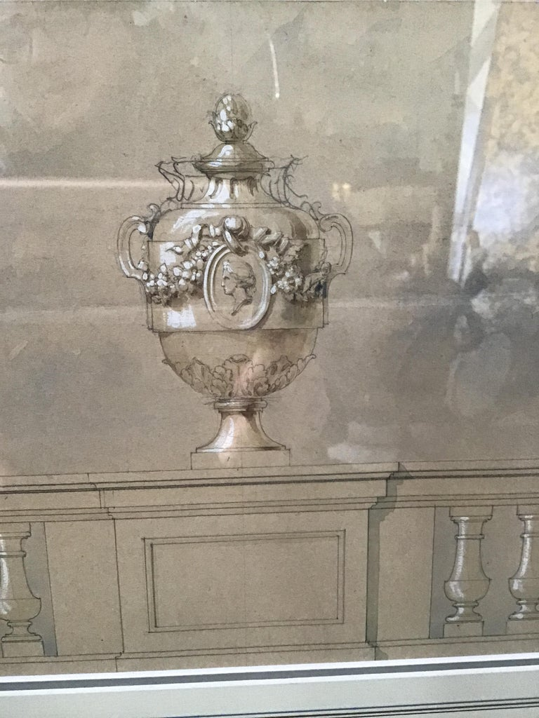 1880s Watercolor of an Urn For Sale 6