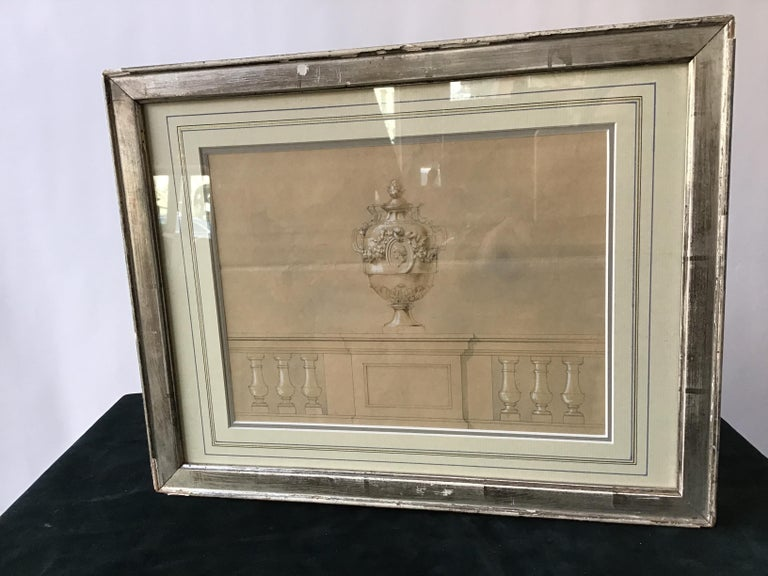 1880s watercolor of an urn by Jansen, done in Paris. Silver leaf frame. Some chipping to frame.