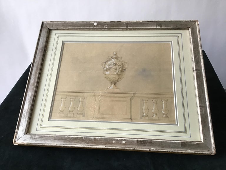 1880s Watercolor of an Urn In Good Condition For Sale In Tarrytown, NY