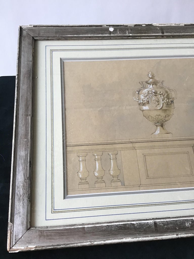 Late 19th Century 1880s Watercolor of an Urn For Sale
