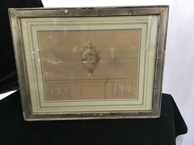 1880s Watercolor of an Urn For Sale 1