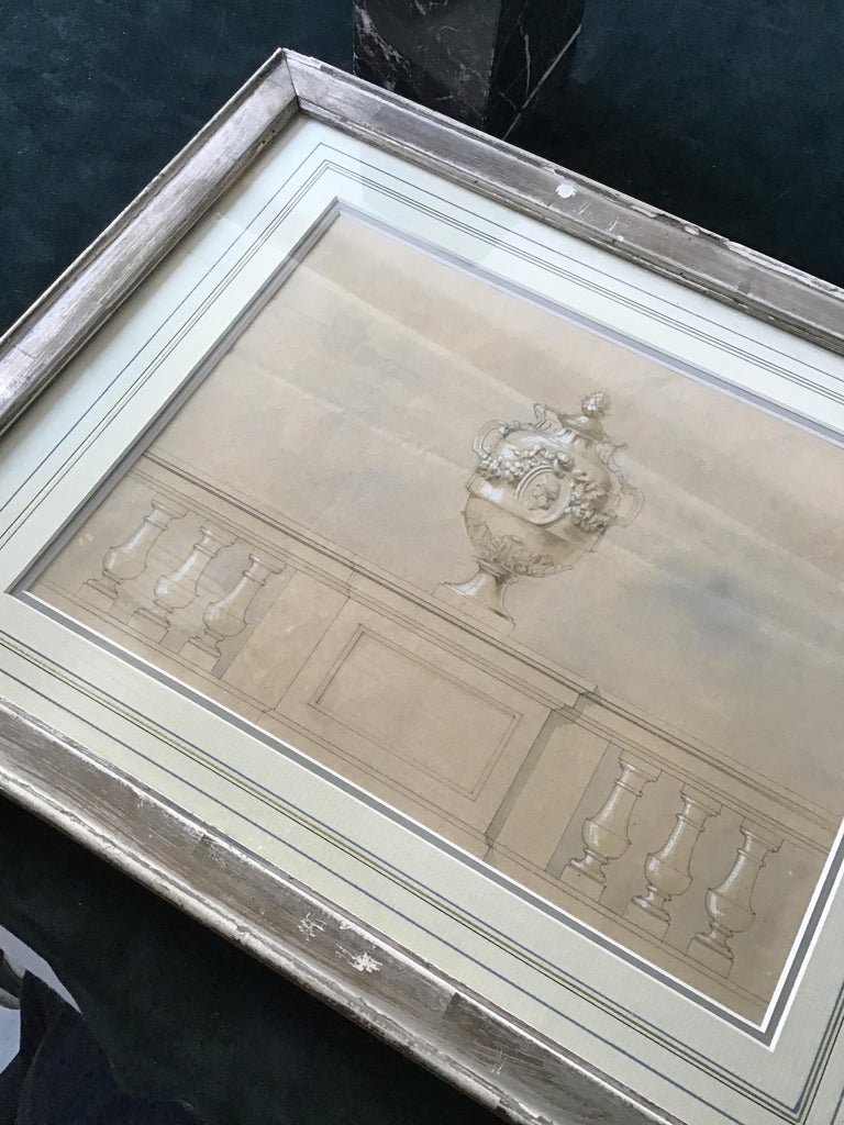 1880s Watercolor of an Urn For Sale 2
