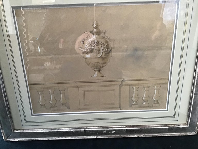 1880s Watercolor of an Urn For Sale 4