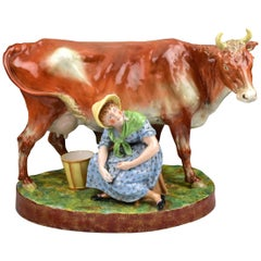 1881 Owen Hale for Copland Ceramic Cow & Milkmaid Display Dairy Supply Co London