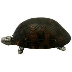 1882 Antique Victorian Sterling Silver 'Tortoise' Vest Box