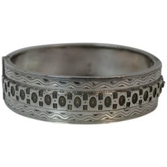 1884 Victorian Aesthetic Period Solid Silver Bangle
