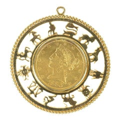 1886 $5.00 United States Gold Coin, Astrology Pendant Charm