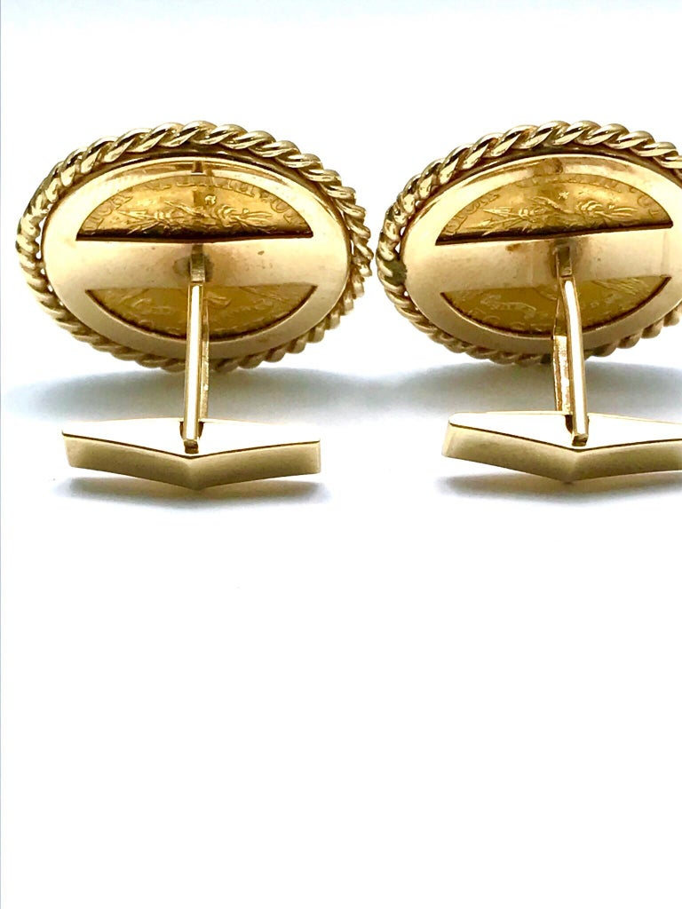 Women's or Men's 1886 Five Dollar United States Gold Coin Cufflinks For Sale