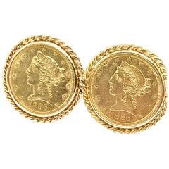 1886 Five Dollar United States Gold Coin Cufflinks