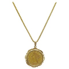 1886 S $5 Gold Liberty Head Coin in 14 Karat Bezel and Chain