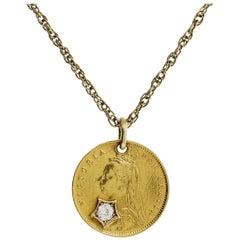 1887 22 Karat Gold Half Sovereign UK Coin Ladies Pendant 0.20ct Mine Cut Diamond