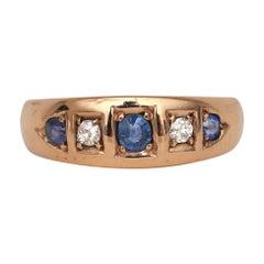 1889 British Victorian 15 Karat Gold Hand Set Antique Diamond and Sapphire Ring