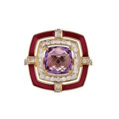 1.89 Carat Amethyst Cushion Briolette Diamond Enamel 18 Karat Yellow Gold Ring