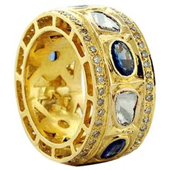 1.89 Carat Blue Sapphire Diamond 18 Karat Gold Ring