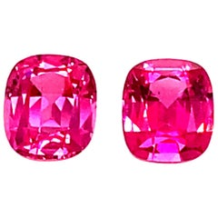 """1.89 Carat GRS Certified Unheated Cushion Cut """"Vibrant"""" Pink Spinels, Pair"""