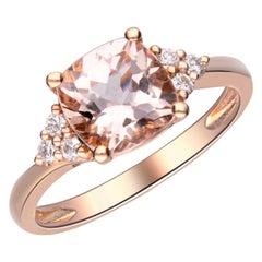 1.89 Carat Morganite and Diamond 14 Karat Rose Gold Ring