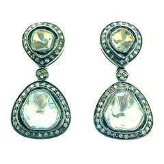 1.89 Carat Old Mine Cut 'Polki Diamond' Diamond Oxidized Sterling Silver Earring