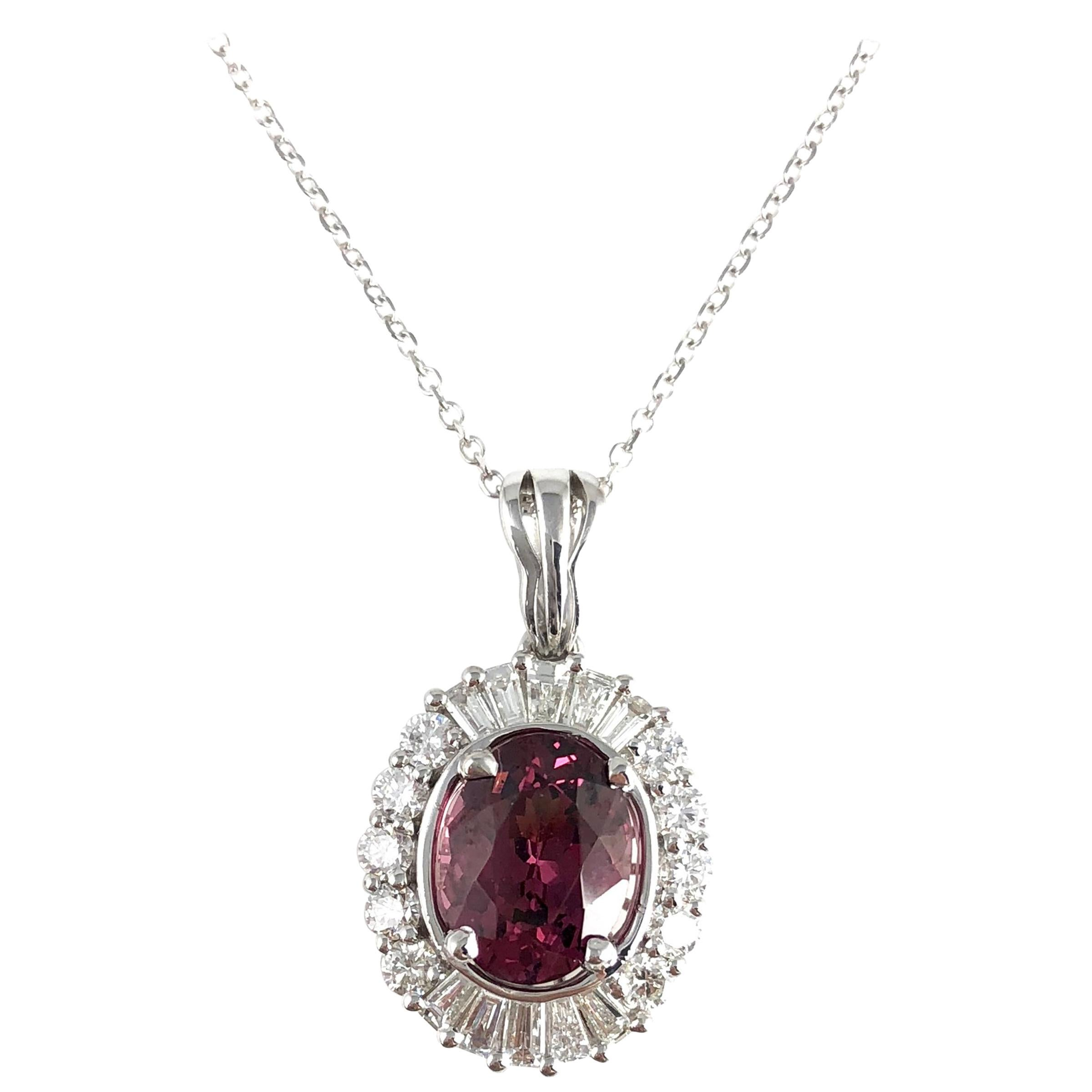 DiamondTown 1.89 Carat Oval Cut Raspberry Garnet and Diamond Halo Pendant