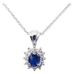 1.89 Carat Oval Sapphire Diamond Halo Pendant
