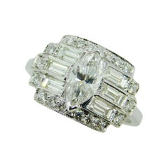 1.89 Carat Total Weight 18k Gold Marquise Genuine Natural Diamond Ring '#J4585'