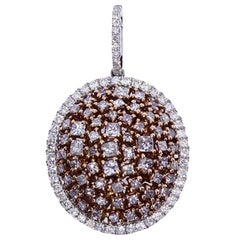 1.89 Carat White Diamond and Natural Pink Diamond Cluster Pendant Necklace