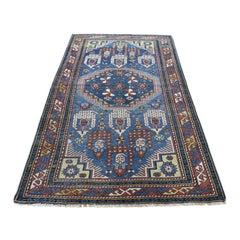 1890 Antique Caucasian Kazak Rug Blues