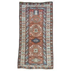1890 Antique Caucasian Kazak Wide Runner Rug, Clean and Soft Pile