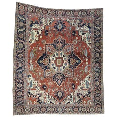 1890 Antique Hand Knotted Persian Serapi Rug Rust/Navy Medallion