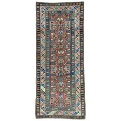 1890 Antique Kazak Runner Rug Evenly Worn