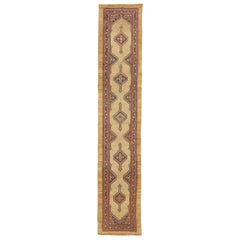 1890 Antique Persian Sarab Runner Rug with Brown and Beige Geometric Details