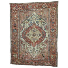 1890 Antique Persian Serapi Hand Knotted Rug