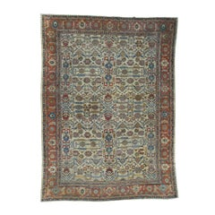 1890 Antique Persian Sultanabad Rug Ivory Intricate Design