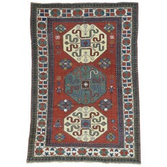 1890 Antique Pin Wheel Kazak Rug Even Wear and Large