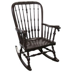 1890 Antique Victorian Carved Oak Rocking Chair with Griffon Arms