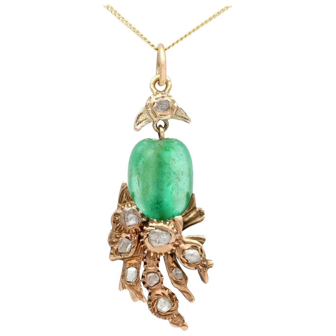 1890 Antique Victorian Emerald and Diamond Yellow Gold Pendant