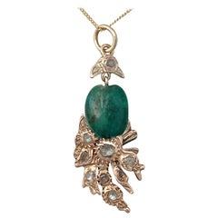 1890 Antique Victorian Emerald Diamond Yellow Gold Pendant
